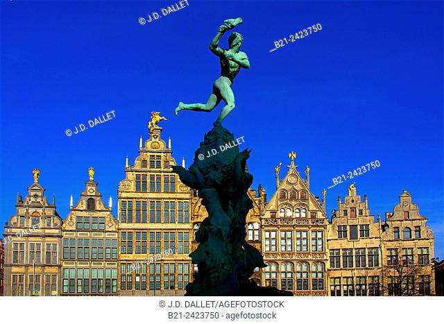 Brabo fountain and corporations houses on Grand Place, Antwerp, Belgium