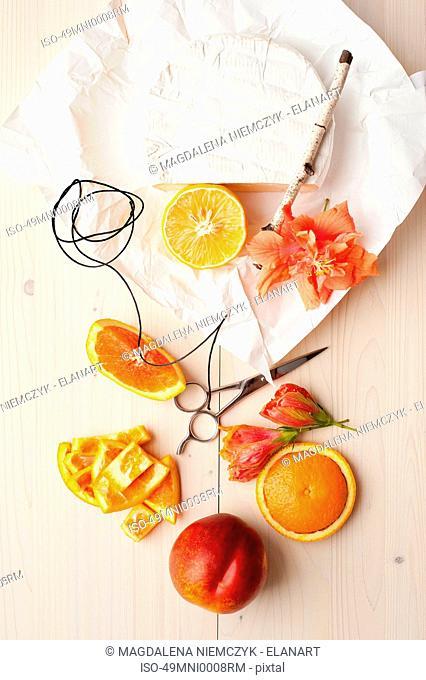 Orange cheese twine and flowers