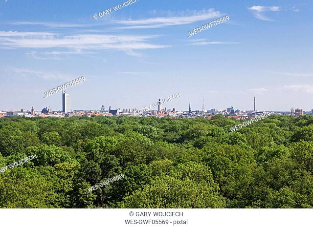 Germany, Leipzig, view to the city from Rosental viewing tower