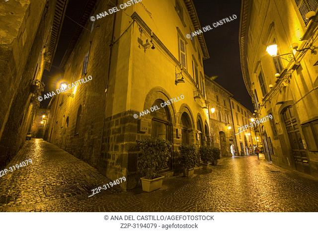 Cityscape in the medieval city of Orvieto by night Umbria Italy