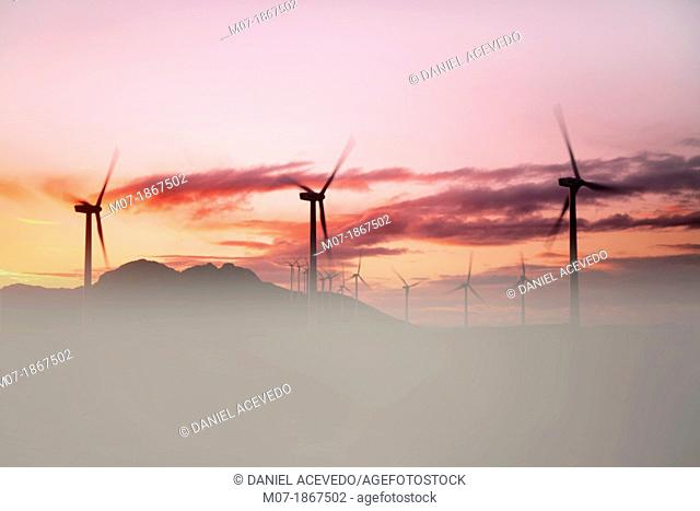 beautiful sunset pictures by Eolic park, wind power, wind energi, Codes mountains, Navarra, Spain, Europe