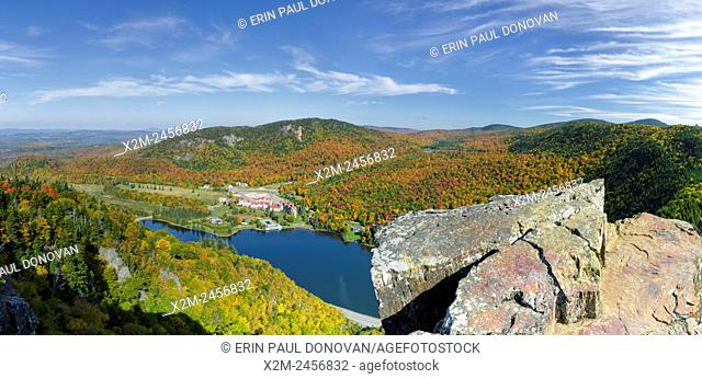 Dixville Notch - Panoramic of Lake Gloriette in Dixville, New Hampshire USA from Table Rock during the autumn months. The Balsams Grand Resort is in view