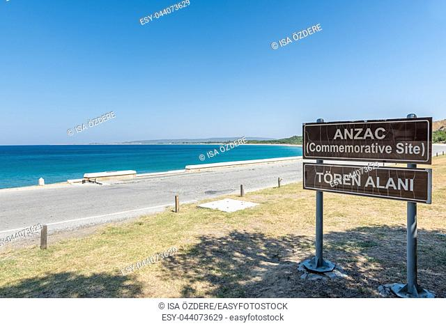 Anzac Cove in Gallipoli where allied troops fought in World War 1 in Canakkale Turkey