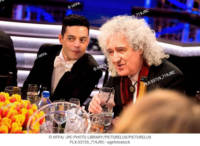 Golden Globe nominee, Rami Malek and Brian May at the 76th Annual Golden Globe Awards at the Beverly Hilton in Beverly Hills, CA on Sunday, January 6, 2019