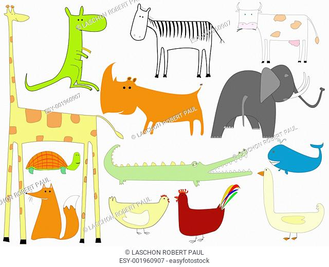 drawing of animals isolated on white background - Jpeg
