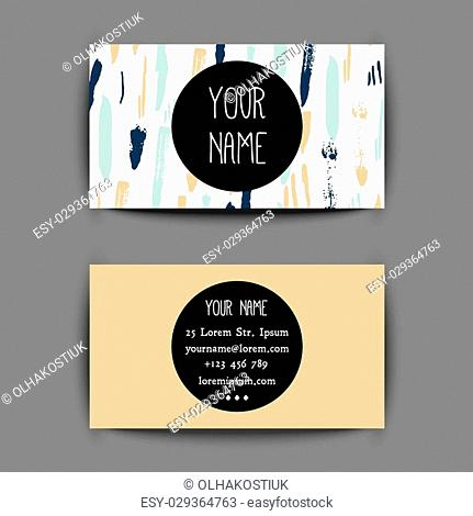 Grunge gold mint Business card template with creative geometric pattern