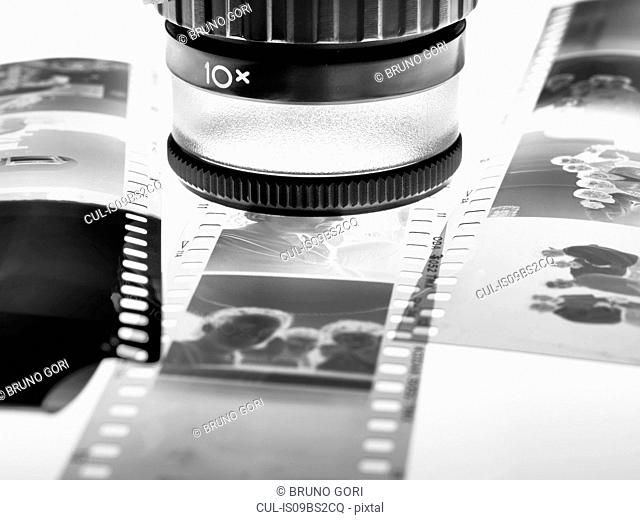 Loupe over film negatives
