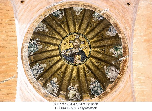 Viiew of central dome of the Pammakaristos Church depicting Jesus Pantocrator and apostles at Fethiye Camii in Carsamba vicinity of Fatih county of Istanbul