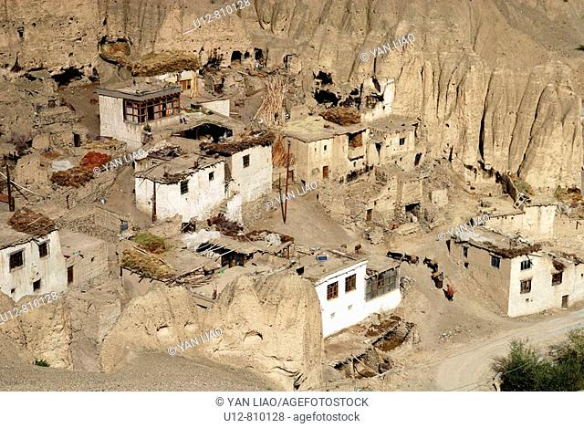 Lamayuru monastery is one of the oldest monasterys in Ladakh. The area of the Valley of the Moon near Lamayuru in Ladkh, India was a former lake