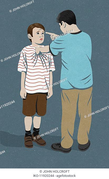 Large boy bullying smaller boy