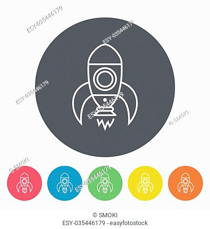 Rocket icon. Thin line flat vector related icon for web and mobile applications. It can be used as - logo, pictogram, icon, infographic element
