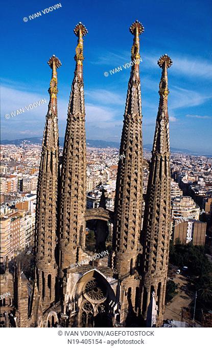Cathedral of Sagrada Familia, by Gaudi. Barcelona. Spain