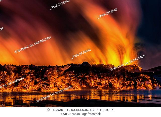 August 29, 2014, a fissure eruption started in Holuhraun at the northern end of a magma intrusion, which had moved progressively north