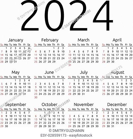 Simple 2024 year calendar Stock Photos and Images | age