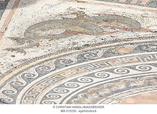 Detail of mosaic floor in atrium in House of the Dolphins, Delos, Greece