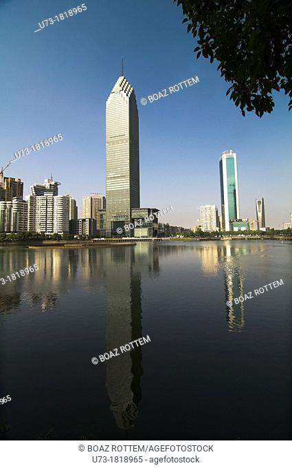 Hankou's high rises tower over the city's many lakes