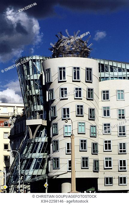 Nationale-Nederlanden building, nicknamed The Dancing House, designed by the Croatian-Czech architect Vlado Milunic in co-operation with Canadian-American...
