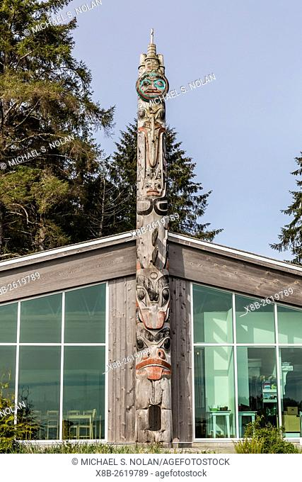 Totem pole at Gwaii Haanas National Park Reserve and Haida Heritage Site, British Columbia, Canada