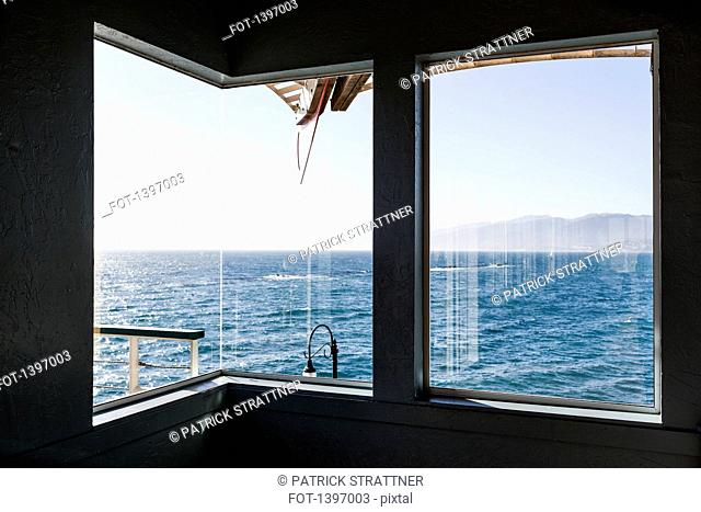 View of sea through boat window