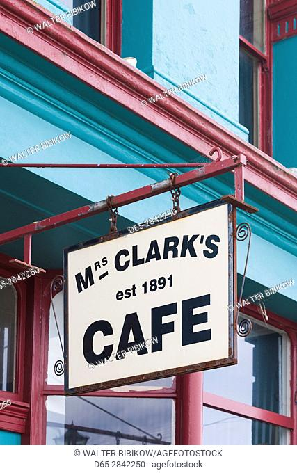 New Zealand, South Island, Southland, Riverton, sign for Mrs. Clark's Cafe