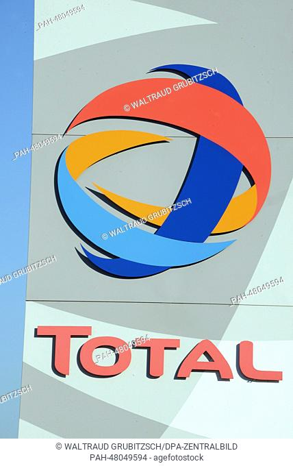 View of the Total logo at the entrance to the 'Total' oil refinery in Leuna, Germany, 12 March 2014. A general inspection under the project title 'Matrix' is...