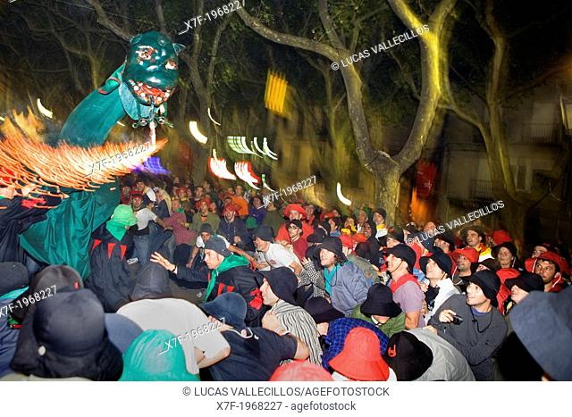 Parade.`Guita grossa'.La Patum Masterpiece of Oral and Intangible Heritage by UNESCO.Berga. Barcelona. Catalonia. Spain