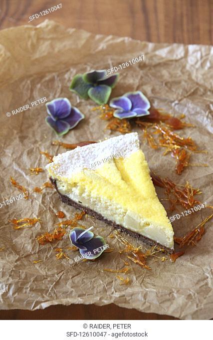 A piece of pear Helene cream cake