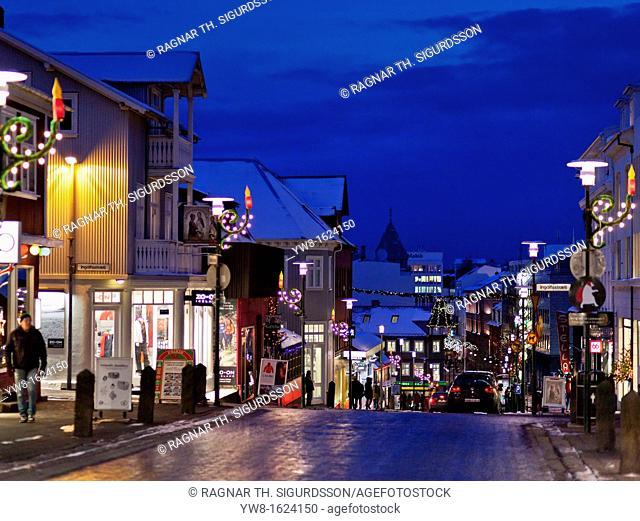 Christmas time- Laugavegar, the main shopping street of downtown Reykjavik, Iceland