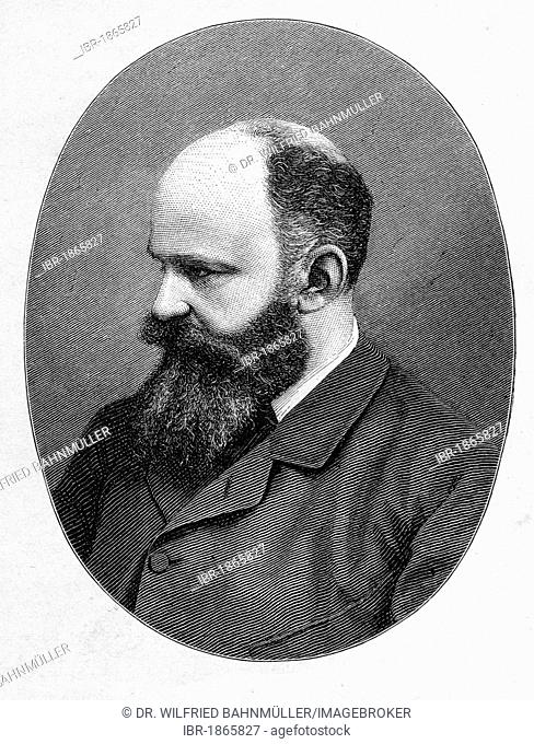 Georg Moritz Ebers (1837 - 1898), writer, Egyptologist, steel engraving, before 1880