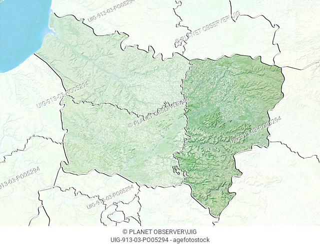 Departement of Aisne, France, Relief Map