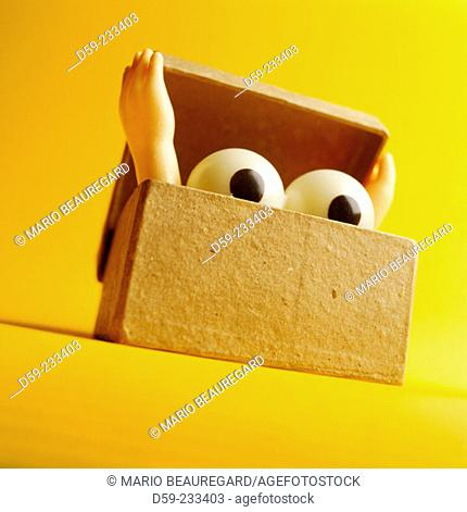 Eyes coming out of a box