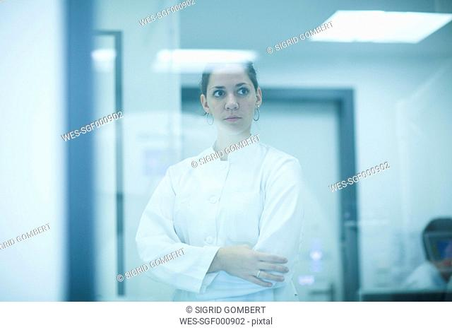 Thoughtful young doctor in hospital