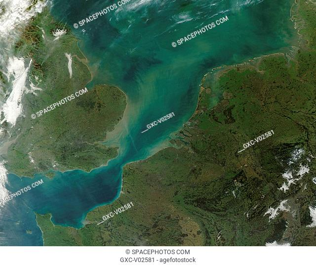Clouds of brown and green sediment swirl through the North Sea in this true-color image acquired on December 18, 2004. The sediments are most concentrated in...