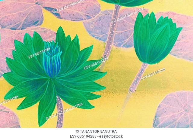 abstract of bright green lotus flowers paint art