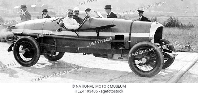 SF Edge in a Spyker car, 1922. Edge drove this car to set a 24 hour average speed record of 74.5 mph (120 kmh) at Brooklands in 1922