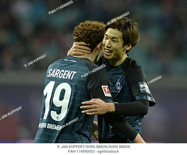 Joshua SARGENT (HB), Yuya OSAKO (HB), jubilation, cheer, joy, victory, happy, success, football 1. Bundesliga, 17th matchday