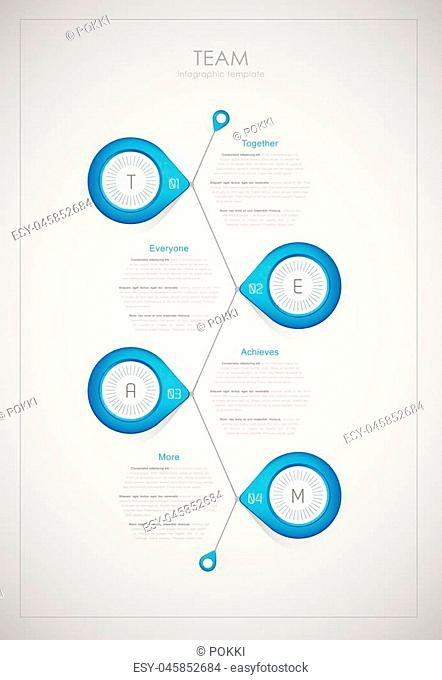 Team - infographic template (together, everyone, achieves, more)