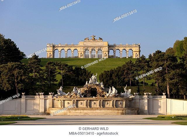Austria, Vienna, Gloriette, Neptune Fountain, Schönbrunn Palace Park