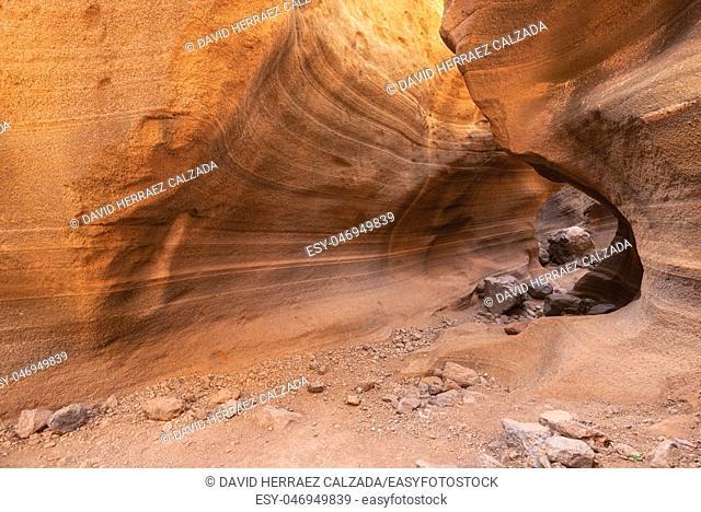 Scenic limestone canyon, Barranco de las Vacas in Gran Canaria, Canary islands Spain