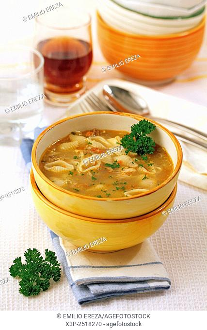 Seafood soup with pasta