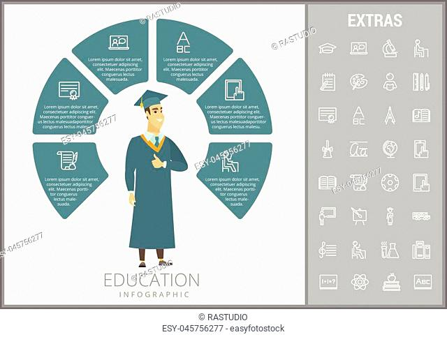 Education infographic template, elements and icons. Infograph includes customizable circular diagram, line icon set with education certificate