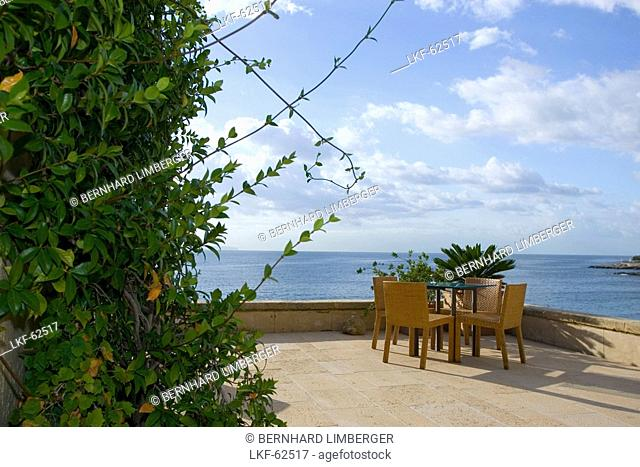 Hotel Maricel, Terrace with table and chairs, Palma, Majorca, Spain