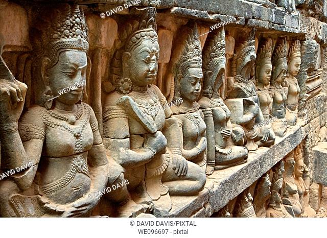 The Terrace of the Leper King is located in the northwest corner of the Royal Square of Angkor Thom, which is part of the Ankgor Wat complex in northern...