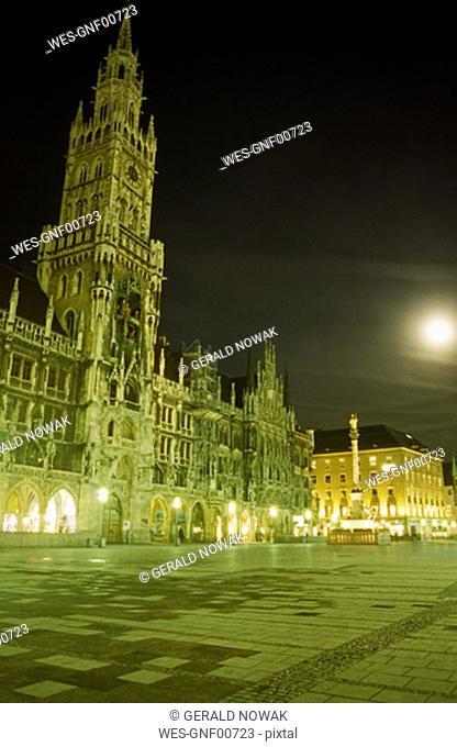 Marienplatz at night, Munich, Bavaria, Germany