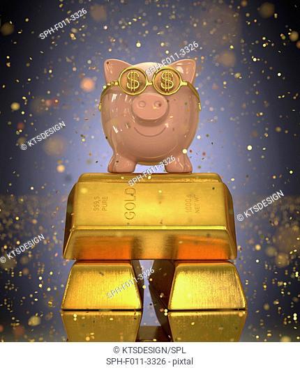 Piggy bank on gold bullion, computer illustration
