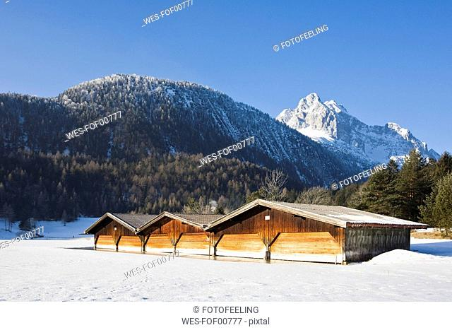Germany, Bavaria, Boathouse, in background the Wetterstein mountains