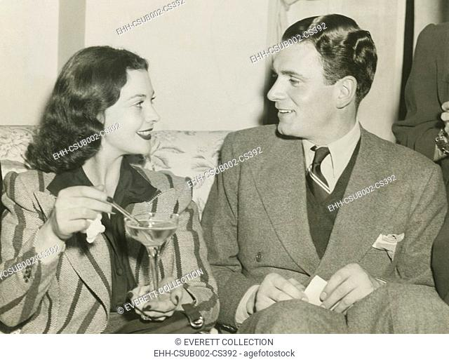Vivien Leigh and Laurence Olivier in Atlanta, Georgia, Dec. 12, 1939. Vivien Leigh was there for the World Premiere of GONE WITH THE WIND, on Dec