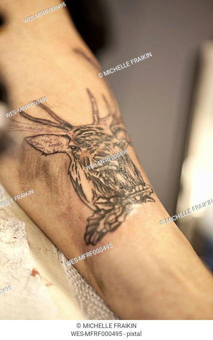Tattoo on forearm, close-up