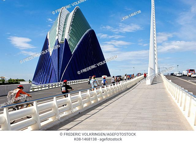 bridge, Ágora, Santiago Calatrava, cyclists, pedestrians, Spain, Valencia