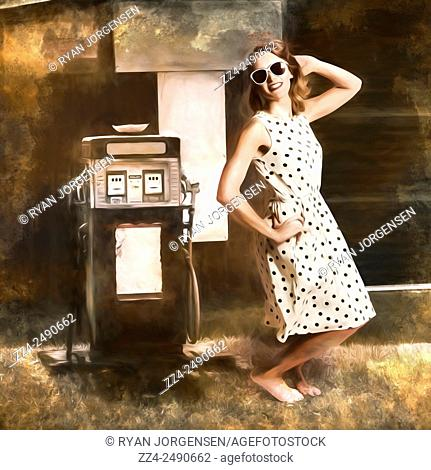 Fine art digital painting of a vintage gas pump girl, striking a fashionable pose in fifties style housewife clothing. Roadhouse petrol pump pinup